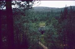 Tuiskukurun kämpän katto ja Pikkutunturit 2.8.2001