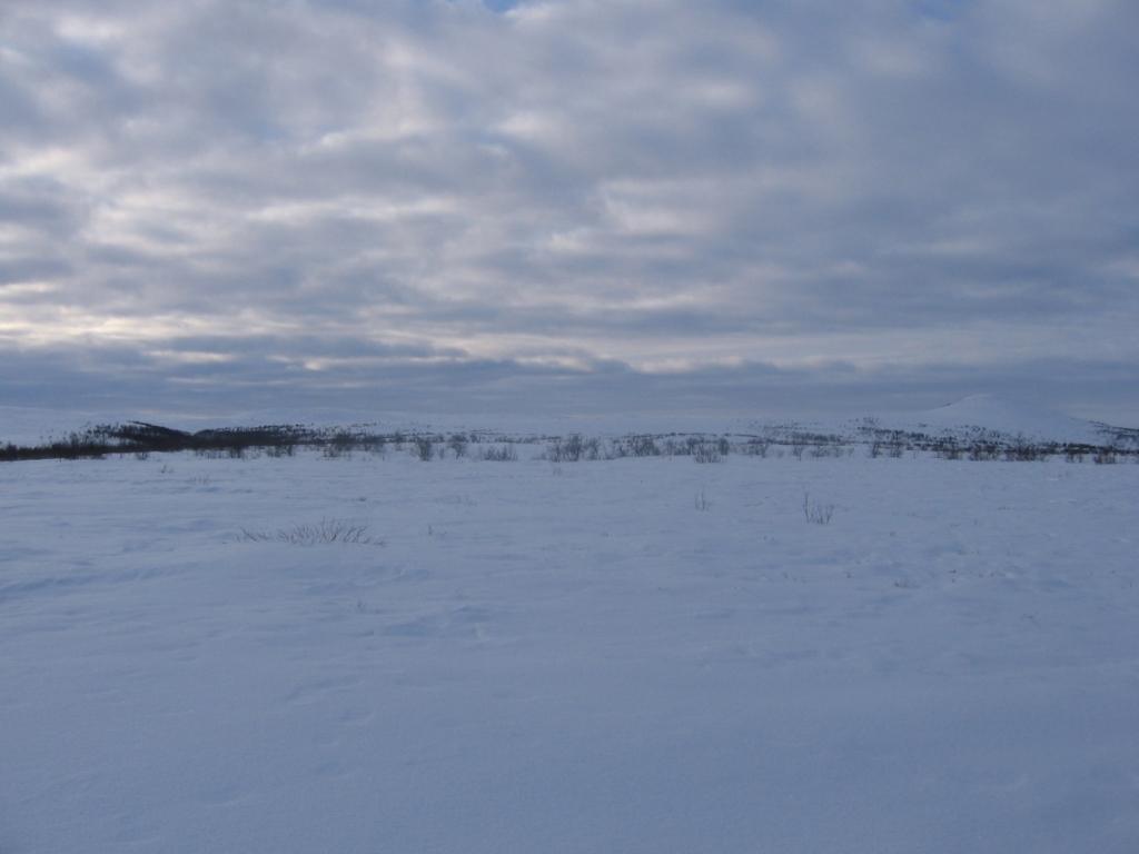 Vudnjoscohkka oikealla, Vudnjosjohka kurussa vasemalla 20.2.2008