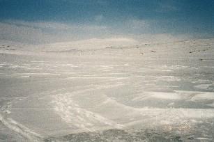 'Meteoriitin' jäljet Pitsusjärven jäässä 29.4.2003