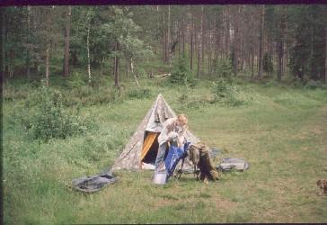Telttapaikka Runsulammella 16.7.1990