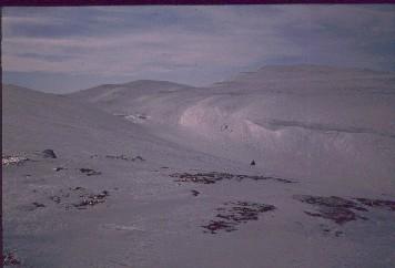 Isä laskeutumassa Kobmajoen kanjoniin 14.4.1990