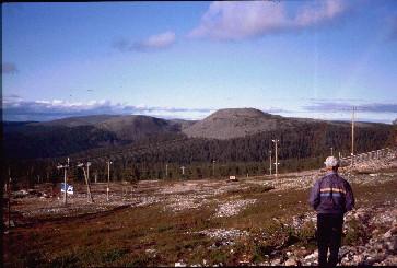 Ylläksen rinteiltä kohti Kesänkitunturia ja Kellostapulia 13.8.1991