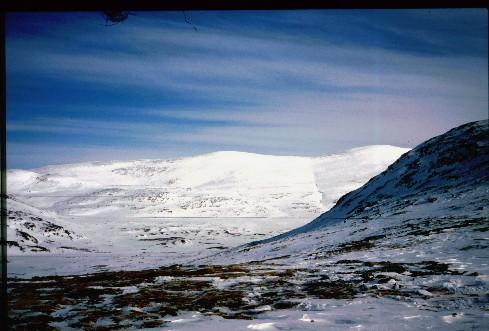 Kovddoskaisan rinteet nähtynä Urttasvankan toiselta puolelta 3.4.1995
