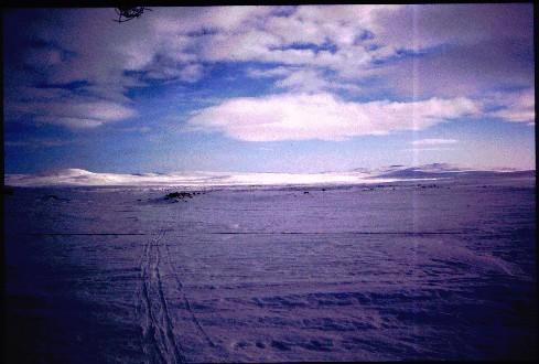 Porojärveltä kohti Terbmistä, kuva koilliseen/itään 6.4.1995