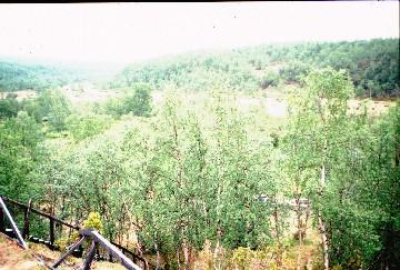Kahvittelupaikka Luobmosjohkalla pari km maantieltä Kevolle 13.7.1996