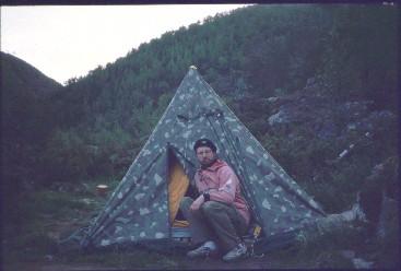 Telttapaikka Fiellokeädggejohkan putouksella 15.7.1996