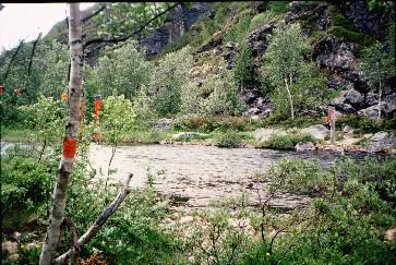Kevojoen kahlaamo Kamajoen eteläpuolella 16.7.1996