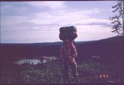 Kiilopään polulla, taustalla Luulampi 1.8.1999