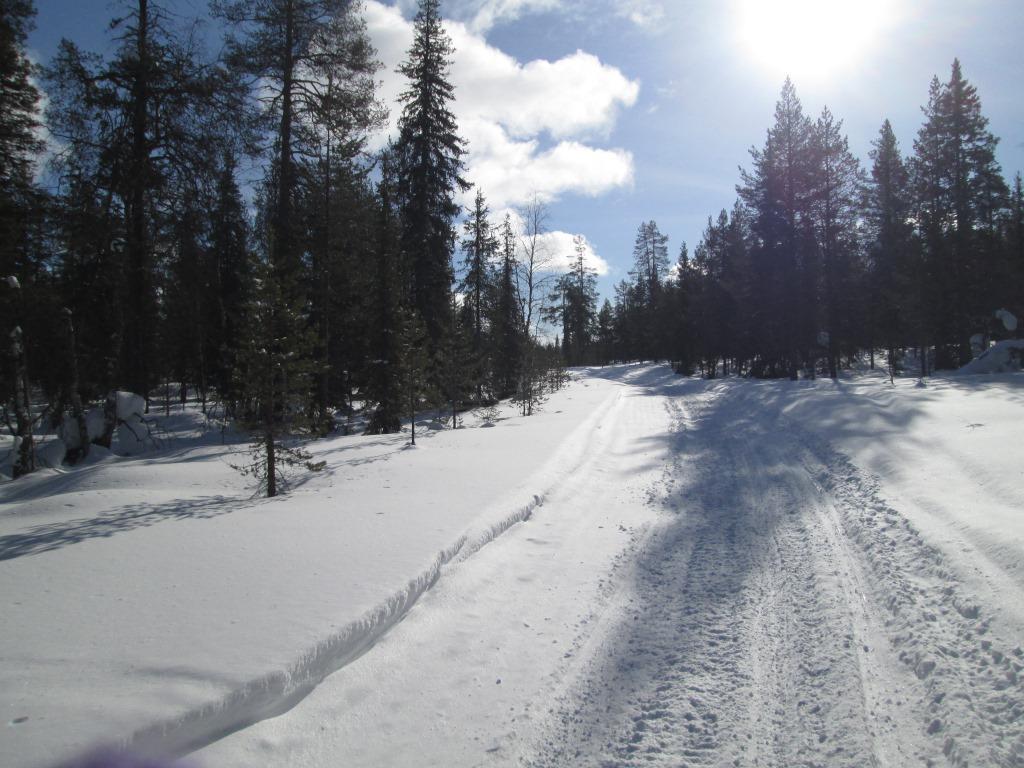 Moottorikelkkauralla kohti Kuusikonmaan tupaa 21.3.2021